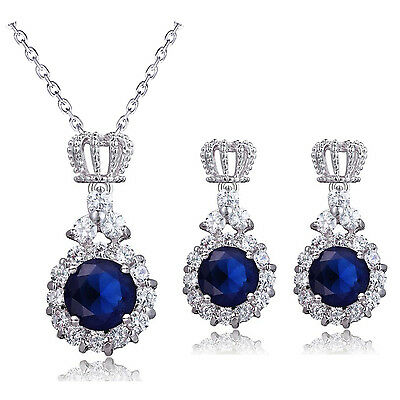 Luxury Princess Prom Party Evening Crown Jewellery Set Earrings Necklace S957