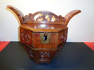 "Antique Rare Hand Carved Wooden Chinese Wedding Basket (15. 5 by 12 by 11"")"