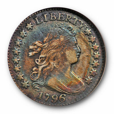 1796 10C Draped Bust Dime ANACS VF 20 Details Rainbow Toned Beauty