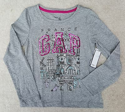 GAP KIDS Girls Grey Marl France Pink Sequin Logo Long Sleeved T Shirt
