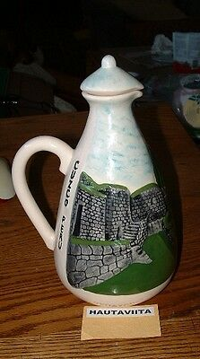 Vintage Cuzco MachuPicchu Peru Lost City Ceramic Water Pitcher Decanter Souvenir
