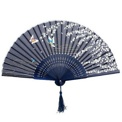 Chinese Japanese Folding Hand Held Fan Silk Butterfly Flower Bamboo Pocket Fan