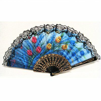 Blue Spanish Style Dance Party Wedding Lace Silk Folding Hand Held Flower Fan US