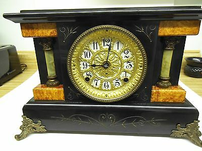 Antique Clock, 1908, Seth Thomas Adamantine, Working, 1/2 Bell, Hourly Chime