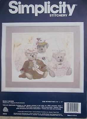 BEARLY SISTERS Simplicity crewel Embroidery KIT preprinted fabric threads needle