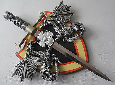 New Sharp Stainless Steel Dragon Sword with a Free Board Able to put on Wall