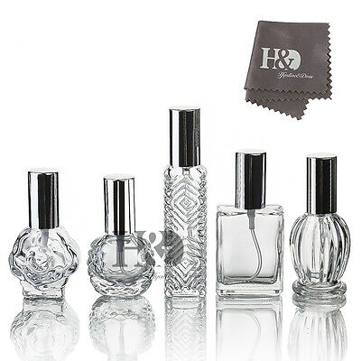 Set 5 Clear Glass Refillable Empty Perfume Bottle with Spray Wedding Decor Gifts