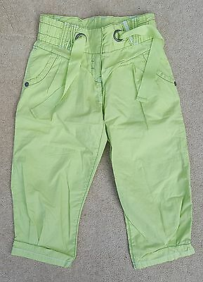 NEXT Girls Lime Green Cargo 3/4 Trousers Pants 100% Cotton 8 Years