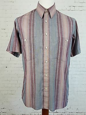 Vtg Mens 80s S-Sleeve Multi Stripe Polycotton Pierre Cardin Shirt -15.5/M- EG65
