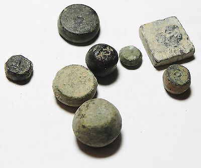 Zurqieh - Aa7419- Holy Land. Lot Of Bronze Wights. 300 B.c - 800 A.d