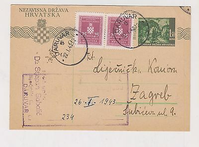 CROATIA,WW II, postal stationery, DARUVAR 1943 ,official I #