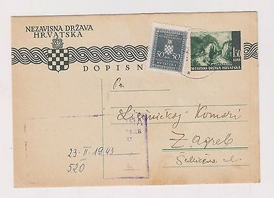 CROATIA,WW II, postal stationery, KRATECKO 1943 ,official #