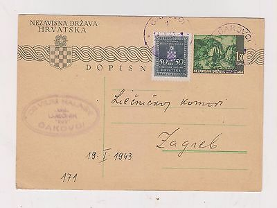 CROATIA,WW II, postal stationery, CAKOVCI 1943 ,official #