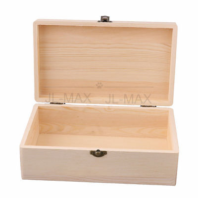 Unpainted Pine Wood Storage Box 25x15x9cm Burlywood
