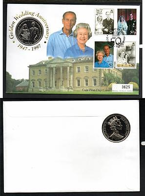 Isle Of Man 1997 Royal Golden Wedding Anv 1 Crown  Coin Cover