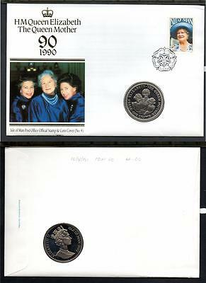 Isle Of Man 1990 90Th Birthday Of The Queen Mother 1 Crown Coin Cover