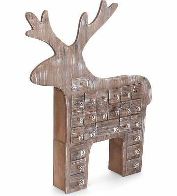 Gisela Graham Christmas Wooden Reindeer Advent Calendar With Drawers Chic Shabby