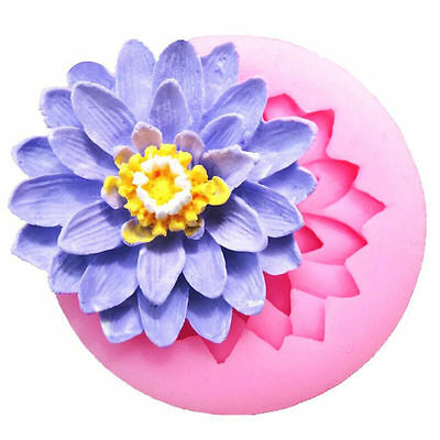 3D Lotus Flower Silicone Mould Fondant Candy Cake Chocolate Decor Silikonform