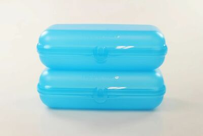 TUPPERWARE To Go Maxi-Twin (2) hellblau Brotdose Behälter Dose Lunchbox Maxitwin