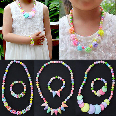 CO_ Baby Girls Glorious Beads Necklace Bracelet Set Handmade Flower Jewelry Gift
