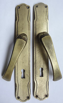 Lot Original Vintage Solid Brass Door Lever Handles set on Backplates Free S/H