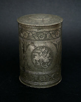 Antique Chinese Pewter Tea Caddy - French Flea Market Find