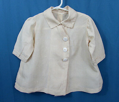 Antique Silk Baby Coat - ivory silk shantang  - ca 1920