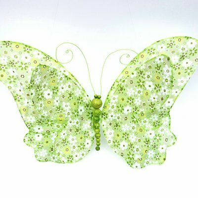 Butterfly Hanging 3D Wall Decor Green Floral Print  Nursery Kids Girl Room Decor