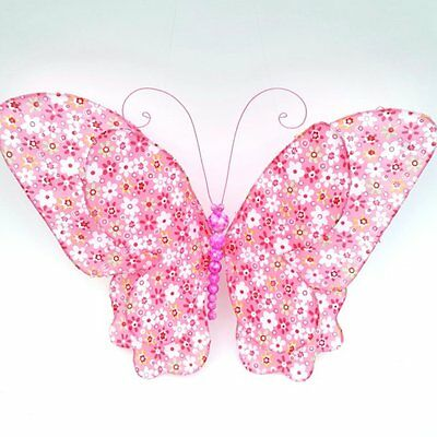 Pink Floral Print Butterfly Hanging 3D Wall Decor Nursery Kids Girl Room Decor