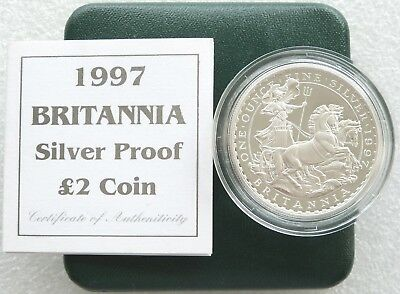 1997 Royal Mint Britannia 10th Anniv £2 Two Pound Silver Proof 1oz Coin Box Coa