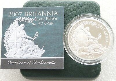 2007 Royal Mint Britannia 20th Anniv £2 Two Pound Silver Proof 1oz Coin Box Coa