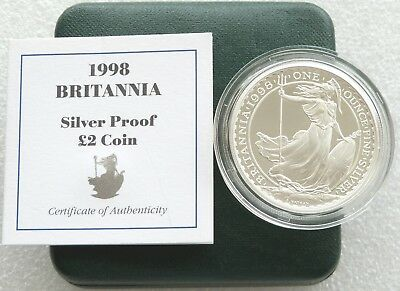 1998 Royal Mint Britannia £2 Two Pound Silver Proof 1oz Coin Box Coa Issue 2,168