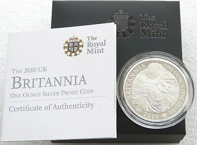 2010 Royal Mint Britannia £2 Two Pound Silver Proof 1oz Coin Box Coa