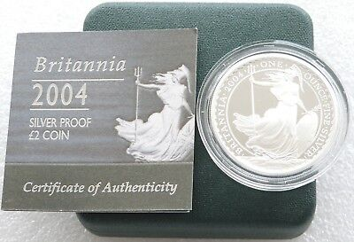 2004 Royal Mint Britannia £2 Two Pound Silver Proof 1oz Coin Box Coa Issue 2,174