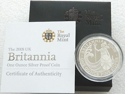 2008 Royal Mint Britannia £2 Two Pound Silver Proof 1oz Coin Box Coa Issue 2,500