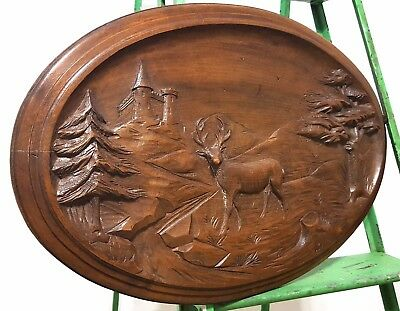 Hand Carved Wood Panel Vintage French Chateau Hunting Scene Carving Sculpture