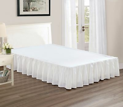 """Chezmoi Collection Solid White Ruffled 15"""" Drop Bed skirt Dust Ruffle, Cal King"""
