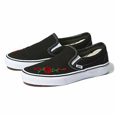 8d5d4741952d9 WHITE VANS SLIP-ON Red Rose Custom Shoes Embroidery - $110.99 | PicClick