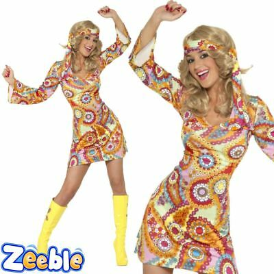 Womens 1970s Psychedelic Hippie Fancy Dress Outfit 60s Hippy Costume UK 8 - 18