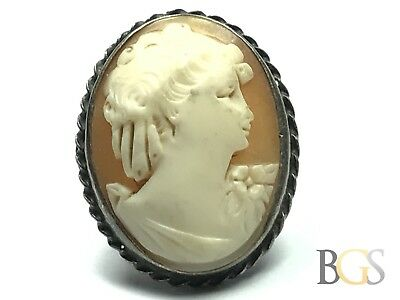 LARGE Antique Victorian Ladies Sterling Silver Cameo Ring - Size 6 - A MUST SEE!