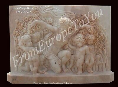Beautiful Hand Carved Marble Cherub Wall Plaque Pl2
