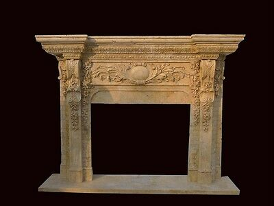Great Travertine Hand Carved Marble Fireplace Mantel