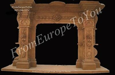 Massive Hand Carved Marble Fireplace Mantel Mnt8