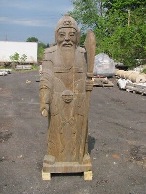 Large Hand Carved Stone Asian Indoor Or Outdoor Standing Warrior Statue - As058