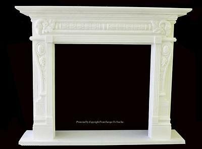 Beautiful Hand Carved Marble European Design Marble Figural Fireplace Mantel Z10