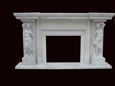 Hand Carved Marble Figural Fireplace Mantel Fpm106