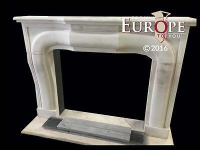 Beautiful Large Hand Carved Marble Estate Fireplace Mantel - Jd606