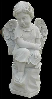 Beautiful Hand Carved Marble Whimsical Cherub Statue - Jx4