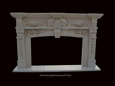 Beautiful Hand Carved Marble European Design Marble Figural Fireplace Mantel Rm1
