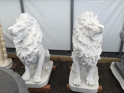 Beautiful Hand Carved Marble Exterior Estate Lion Statues   - Jd12